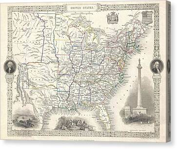 1851 United States Of America Map Canvas Print by Dan Sproul