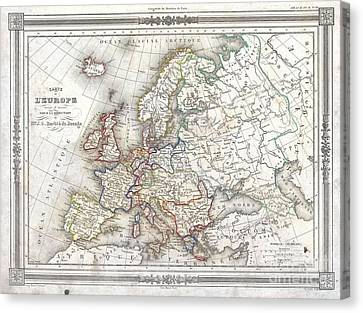 1852 Barbie Du Bocage Map Of Europe Canvas Print by Paul Fearn