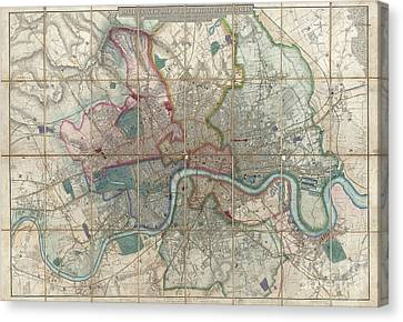 1852 Davies Case Map Or Pocket Map Of London Canvas Print by Paul Fearn