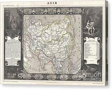 1852 Levasseur Map Of Asia Canvas Print