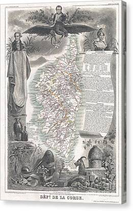 Being Given Canvas Print - 1852 Levasseur Map Of Corsica  by Paul Fearn