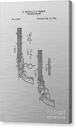 1854 Smith And Wesson Magazine Firearm Patent Art 3 Canvas Print by Nishanth Gopinathan