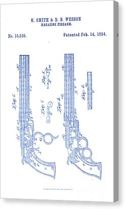 1854 Smith And Wesson Magazine Firearm Patent Art 4 Canvas Print by Nishanth Gopinathan