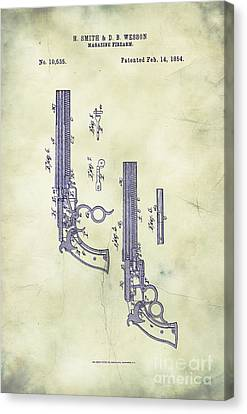 1854 Smith And Wesson Magazine Firearm Patent Art 5 Canvas Print by Nishanth Gopinathan