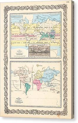 1855 Antique World Maps Illustrating Principal Features Of Meteorology Rain And Principal Plants Canvas Print by Karon Melillo DeVega