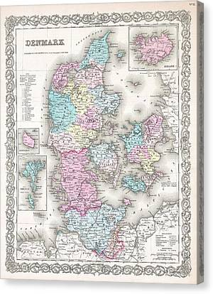 1855 Colton Map Of Denmark Canvas Print by Paul Fearn