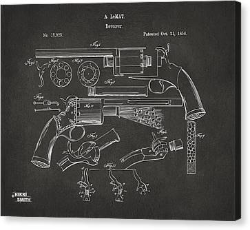 1856 Lemat Revolver Patent Artwork - Gray Canvas Print by Nikki Marie Smith