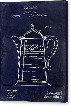 1860 Beer Pitcher Patent Drawing Blue Canvas Print