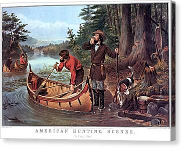 Canoe Canvas Print - 1860s American Hunting Scenes An Early by Vintage Images
