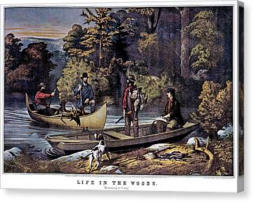 Canoe Canvas Print - 1860s Life In The Woods - Hunters by Vintage Images