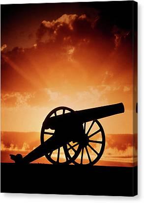 Courage Canvas Print - 1860s Silhouette Civil War Era Cannon by Vintage Images