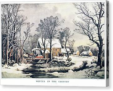 Grist Canvas Print - 1860s Winter In The Country - The Old by Vintage Images