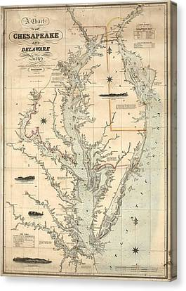 1862 Chesapeake Bay Map Canvas Print by Dan Sproul