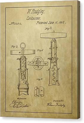 1862 Corkscrew Patent Canvas Print