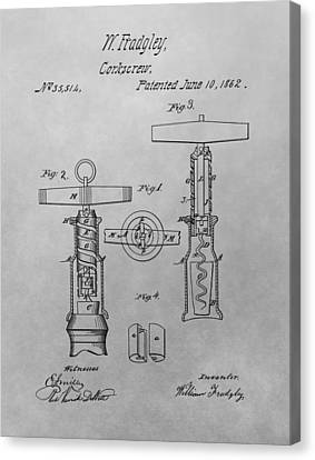 1862 Corkscrew Patent Drawing Canvas Print by Dan Sproul