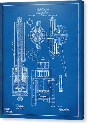 1862 Gatling Gun Patent Artwork - Blueprint Canvas Print