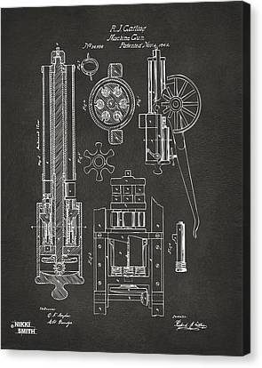 1862 Gatling Gun Patent Artwork - Gray Canvas Print