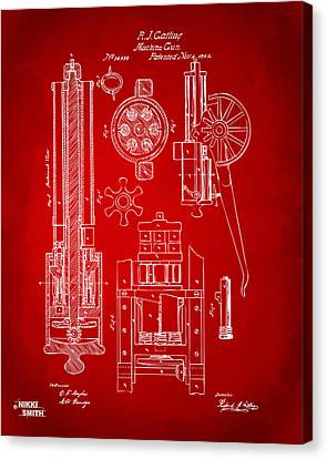 1862 Gatling Gun Patent Artwork - Red Canvas Print