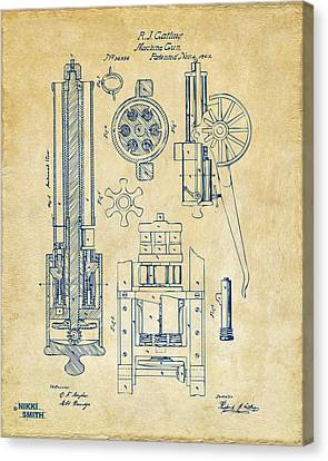 1862 Gatling Gun Patent Artwork - Vintage Canvas Print by Nikki Marie Smith