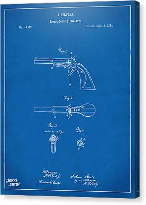 1864 Breech Loading Pistol Patent Artwork - Blueprint Canvas Print