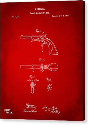 1864 Breech Loading Pistol Patent Artwork - Red Canvas Print