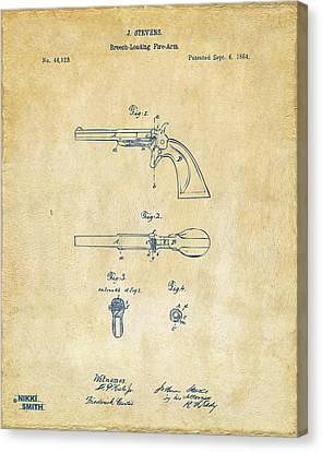 1864 Breech Loading Pistol Patent Artwork - Vintage Canvas Print