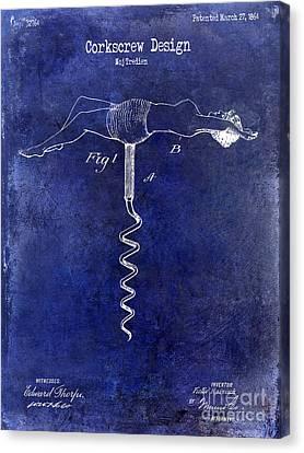 Napa Valley Vineyard Canvas Print - 1864 Nude Corkscrew Patent Drawing Blue by Jon Neidert