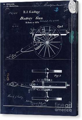 1865 Gatling Battery Gun Patent Drawing Blue Canvas Print by Jon Neidert
