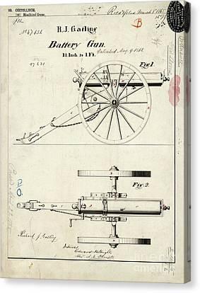 1865 Gatling Battery Gun Patent Drawing Canvas Print by Jon Neidert