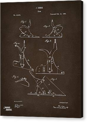 1865 John Deere Plow Patent Espresso Canvas Print by Nikki Marie Smith