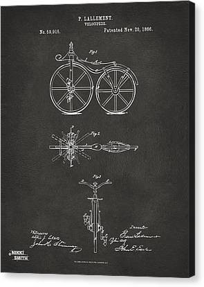 1866 Velocipede Bicycle Patent Artwork - Gray Canvas Print by Nikki Marie Smith