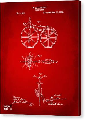 1866 Velocipede Bicycle Patent Artwork Red Canvas Print by Nikki Marie Smith