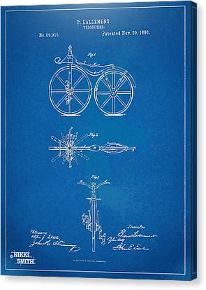 Bicycle Canvas Print - 1866 Velocipede Bicycle Patent Blueprint by Nikki Marie Smith