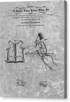 1869 Life Preserver Patent Charcoal Canvas Print