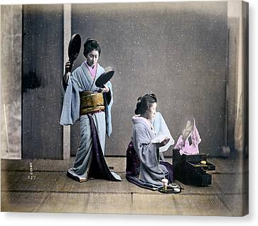 Geisha Girl Canvas Print - 1870 Geisha Girls Dressing Room by Historic Image