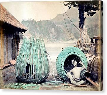 1870 Japanese Basket Weavers Canvas Print