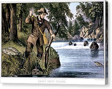 Confidence Men Canvas Print - 1870s Brook Trout Fishing - Currier & by Vintage Images