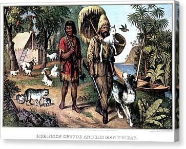 1874 Canvas Print - 1870s Robinson Crusoe And His Man by Vintage Images