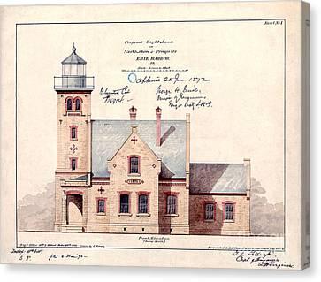 1872 Erie Harbor Lighthouse Canvas Print