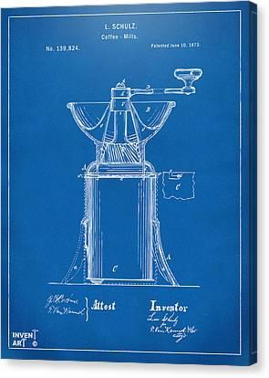 1873 Coffee Mills Patent Artwork Blueprint Canvas Print