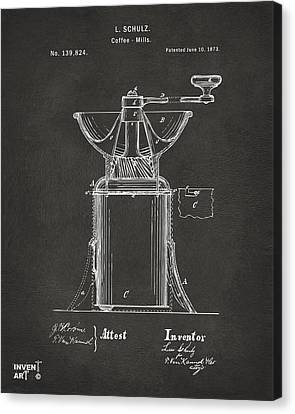 1873 Coffee Mills Patent Artwork Gray Canvas Print by Nikki Marie Smith