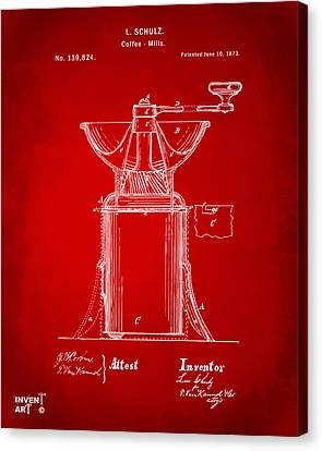 1873 Coffee Mills Patent Artwork Red Canvas Print by Nikki Marie Smith