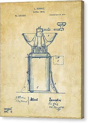 1873 Coffee Mills Patent Artwork Vintage Canvas Print