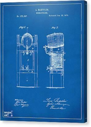 1876 Beer Keg Cooler Patent Artwork Blueprint Canvas Print by Nikki Marie Smith