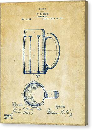 1876 Beer Mug Patent Artwork - Vintage Canvas Print by Nikki Marie Smith