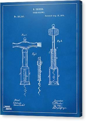 1876 Wine Corkscrews Patent Artwork - Blueprint Canvas Print by Nikki Marie Smith