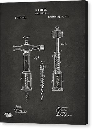 1876 Wine Corkscrews Patent Artwork - Gray Canvas Print by Nikki Marie Smith