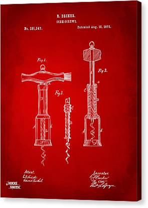1876 Wine Corkscrews Patent Artwork - Red Canvas Print by Nikki Marie Smith