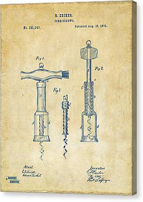 1876 Wine Corkscrews Patent Artwork - Vintage Canvas Print