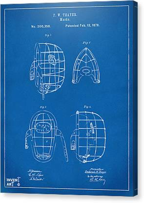 1878 Baseball Catchers Mask Patent - Blueprint Canvas Print by Nikki Marie Smith